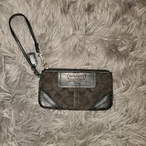 Coach Signature Wristlet Purse - Black